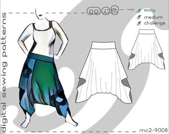 Easy-Drape Harem Pants (sizes S-M-L-XL-2XL-3XL-4XL-5XL) Digital PDF Sewing Pattern for Women >mc2patterns< mc2-9008