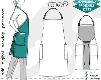 XS-4XL/ Chef Barista Apron/ Digital Sewing PDF-pattern for Women >mc2patterns< mc2-1320