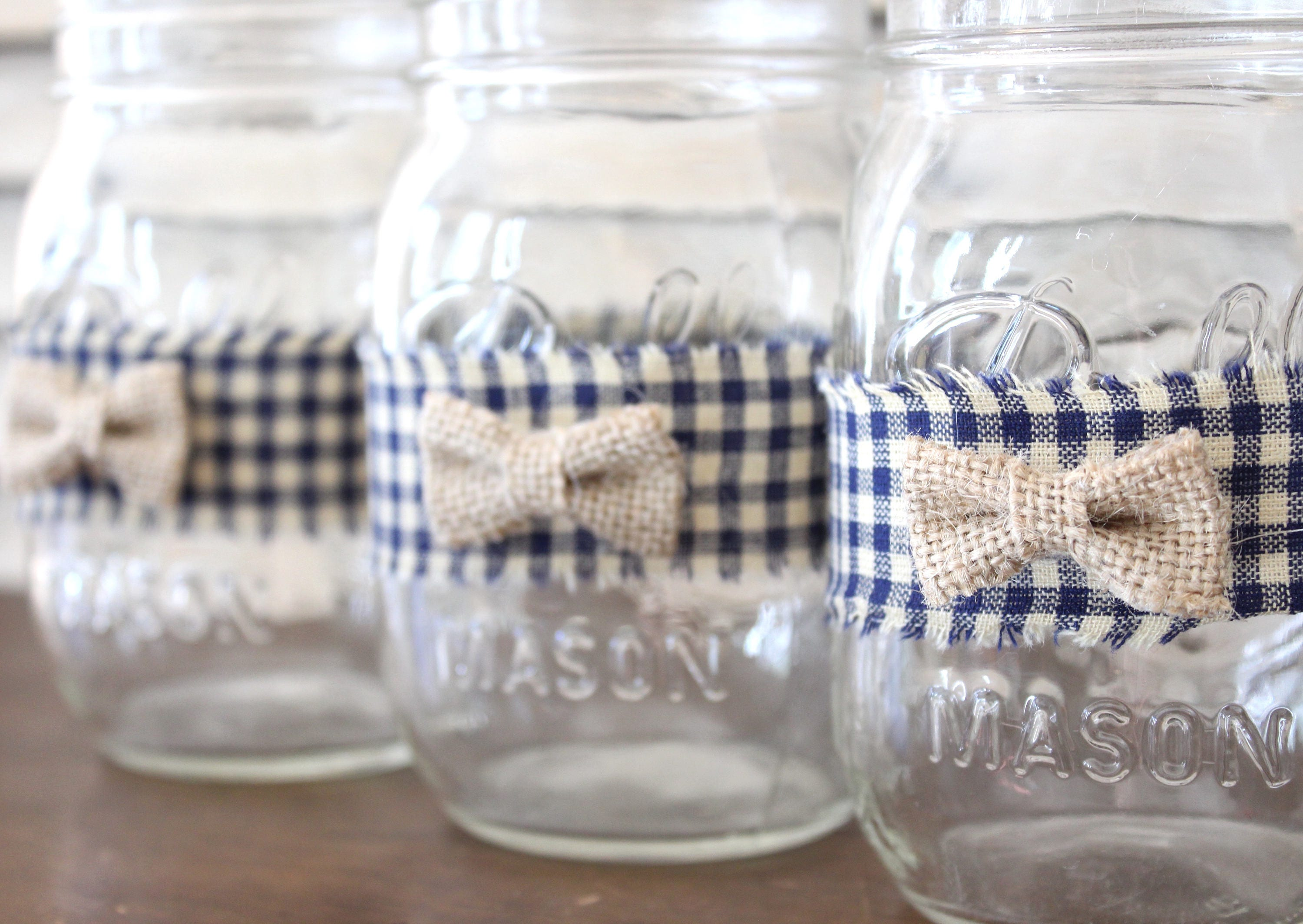 Boy Baby Shower Bow Tie Mason Jar Centerpiece Jar And Wraps, Rustic Country  Boy Baby Shower Decorations, Mason Jar Blue Gingham Bow Ties