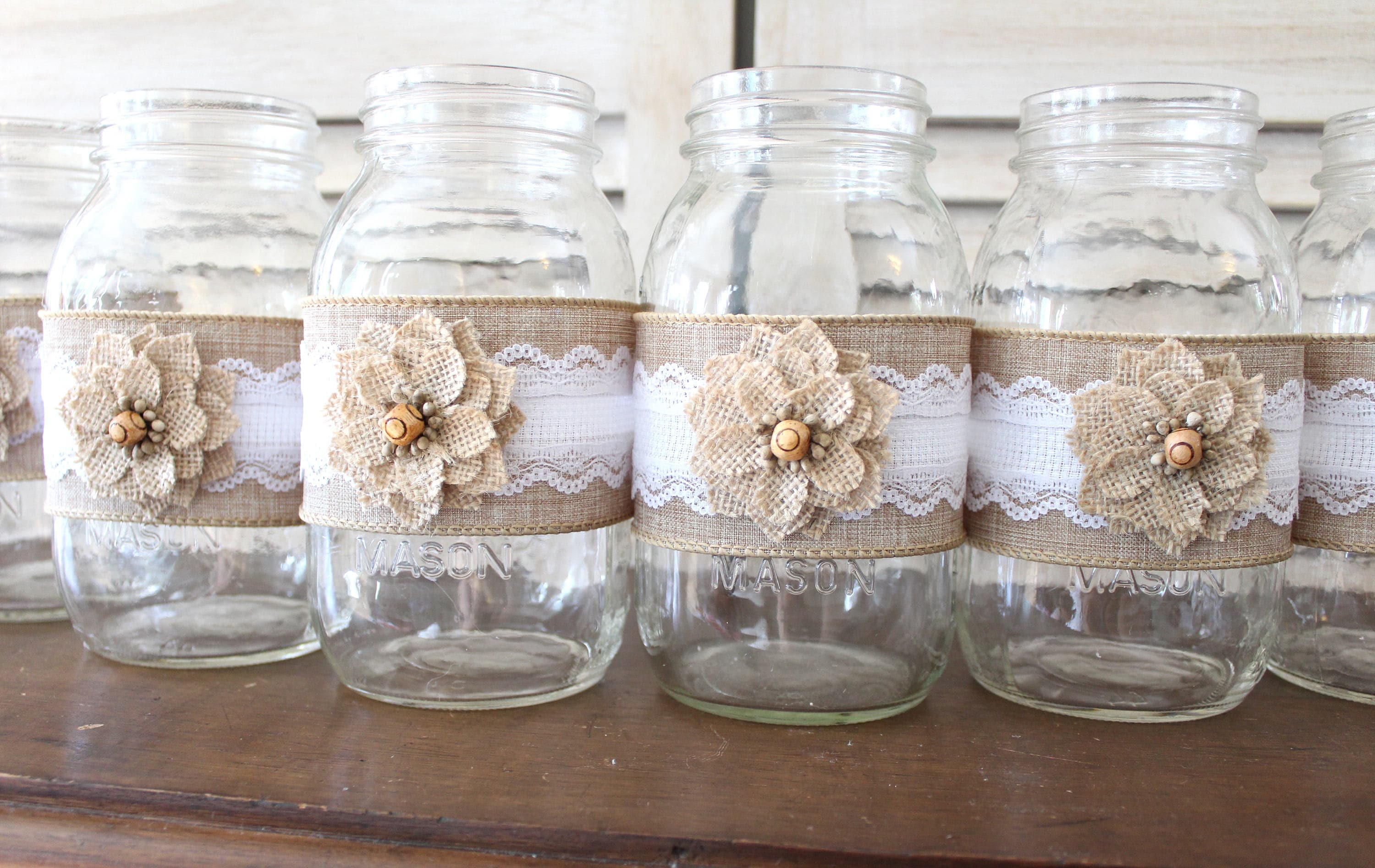 Rustic Country Wedding Mason Jar Centerpiece Wraps, backyard wedding ...
