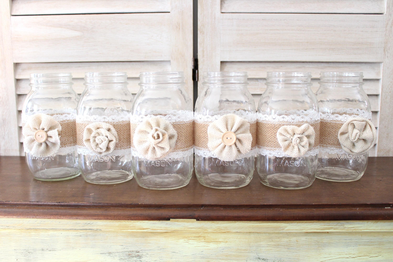 Rustic Country Wedding Centerpieces, burlap mason jar centerpieces ...