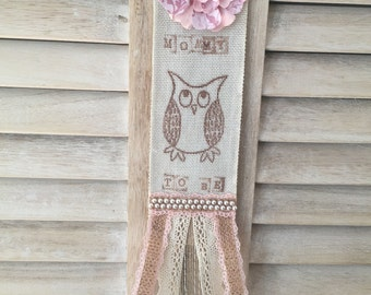 Rustic Mommy to Be Pink Owl Baby Girl Shower Handmade Burlap and Lace Corsage