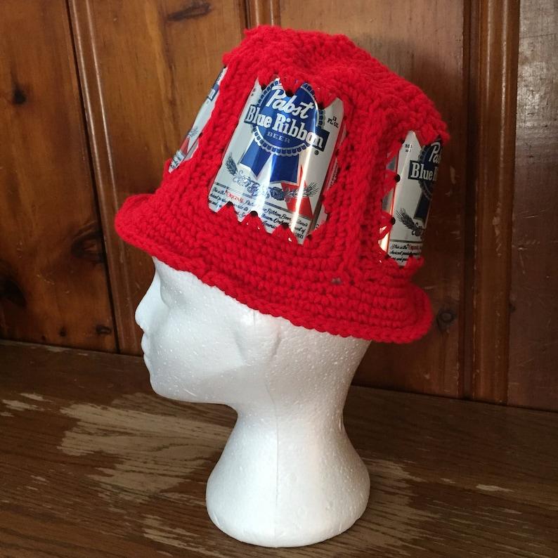 e584ba95dc1c4 Badger red beer can hat PBR High Life or Miller Lite