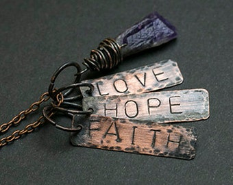 Faith Hope Love necklace Amethyst necklace Personalized necklace Rustic necklace Rustic jewelry Boho necklace Gift for her Amulet Quotes