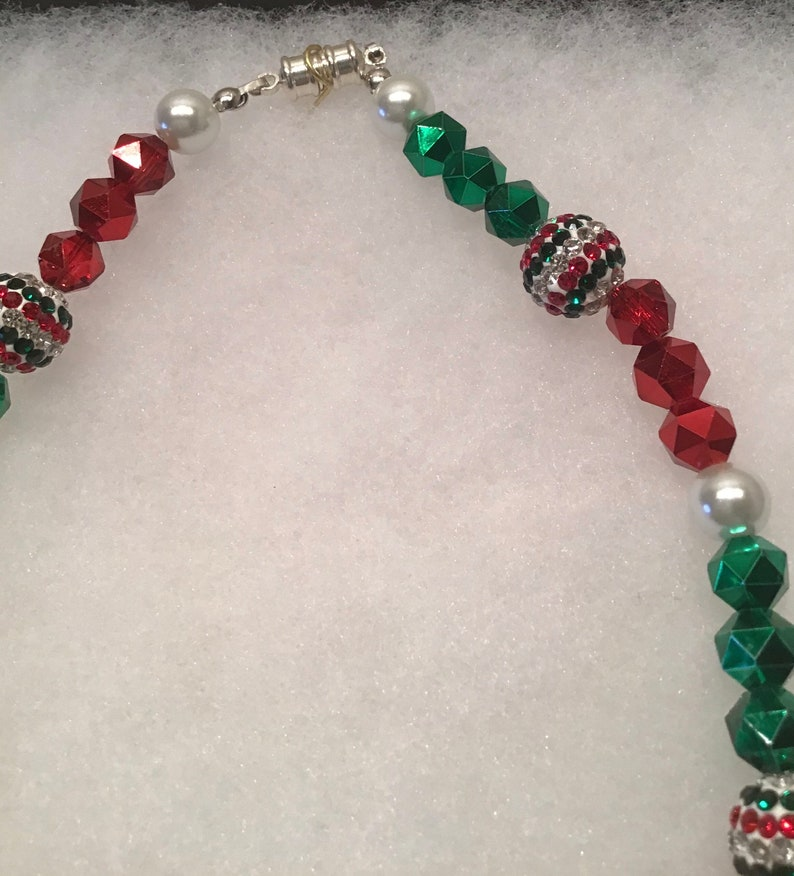Christmas Holiday Necklace Red Green Glass Beads Sparkling Faceted Beads White Glass Pearls Hand Made TriColor Beads BoHo Style