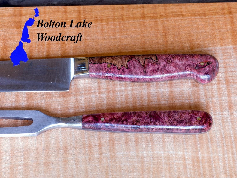 Japanese steel carving knife and fork handmade knife handle maple