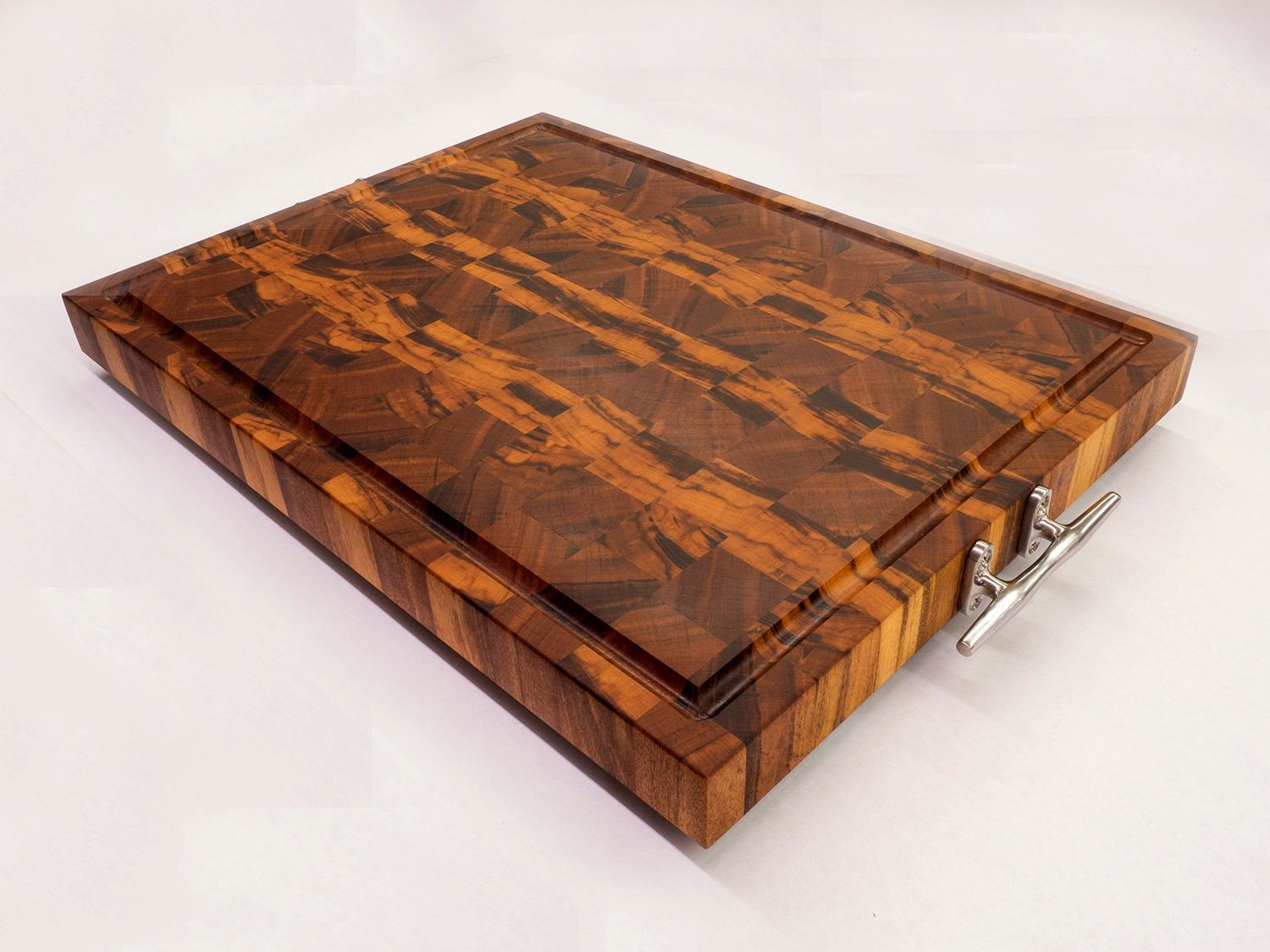 Nautical End Grain Cutting Board With Handles Large
