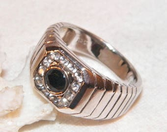 Size 9 Sterling Silver Designer Black Onyx Ring 925 Quality Mens With Natural And Multiple Clear Gemstones CN