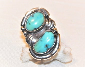 Solid 925 Natural Blue Turquoise Ring High Quality Awesome Ring 11.3 Gram Size 6.75 Older Native American Sterling Silver Turquoise Ring