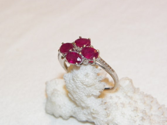 Size 9.25 Vintage Ruby Ring, Solid 925 Real Ruby … - image 4
