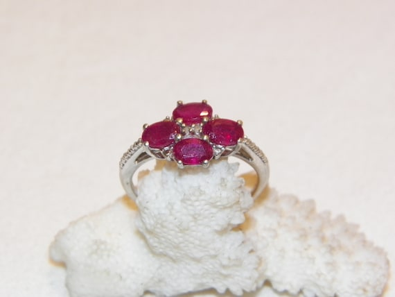 Size 9.25 Vintage Ruby Ring, Solid 925 Real Ruby … - image 3