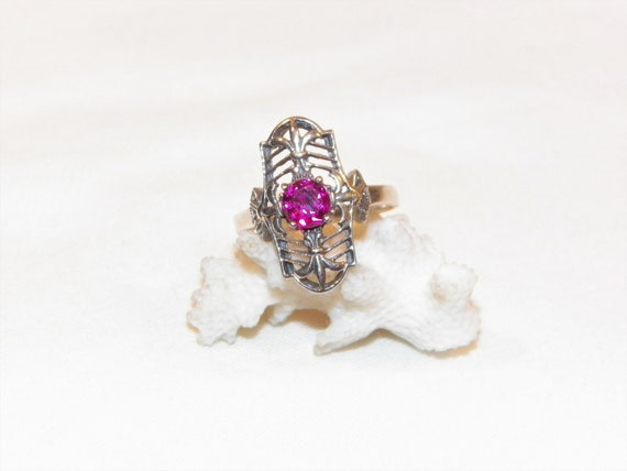 Size 8 Sterling Silver Ruby Ring, Solid 925 Ruby … - image 1