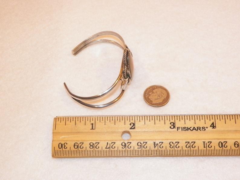 6.5 Inch Old Native American Signed T Sterling Silver Bracelet 925 Natural Shell Cuff Bracelet Tommy Singer? Antique Old Pawn Bracelet