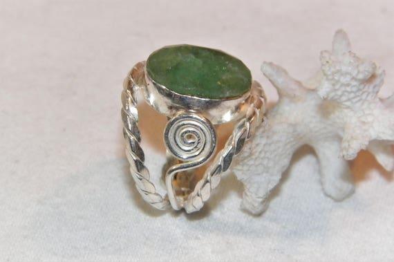 Sterling Silver Emerald Ring, 925 Unique Emerald R
