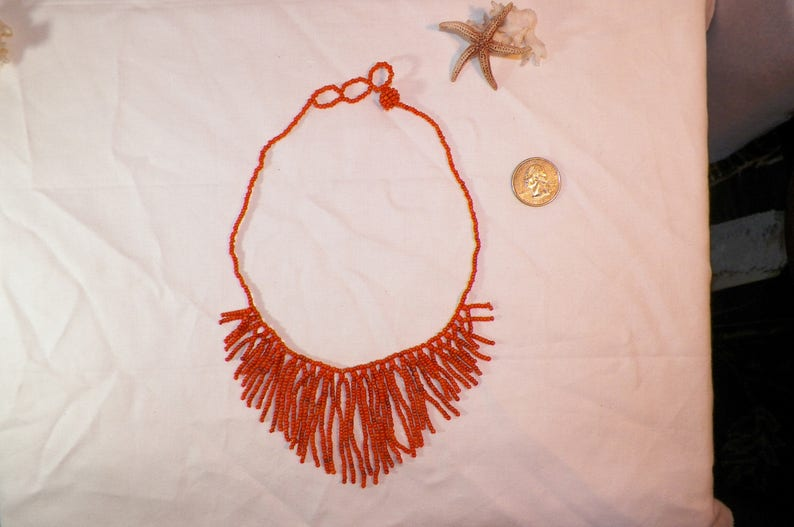 Old Vintage Hand Made Bead Work Necklace Orange Coral? Natural Orange Stone? Beautiful Native American Style Necklace,16 Inch Necklace