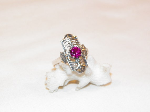 Size 8 Sterling Silver Ruby Ring, Solid 925 Ruby … - image 2