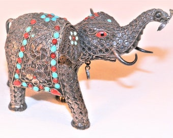 Rare Antique 5.5 Inch By 3.5 Inch Sterling Silver Turquoise And Red Coral Elephant With Garnet, 925 Hand Made Work Of Art Elephant Figurine