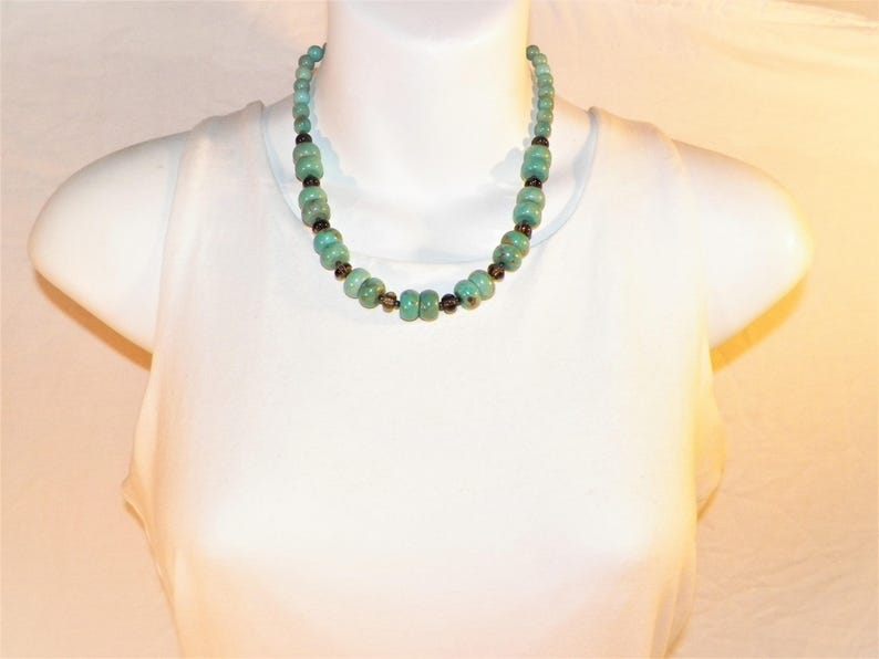18 Inch Sterling Silver Turquoise And Smokey Topaz Necklace 925 Turquoise W Genuine Earthly Topaz Necklace 59 grams