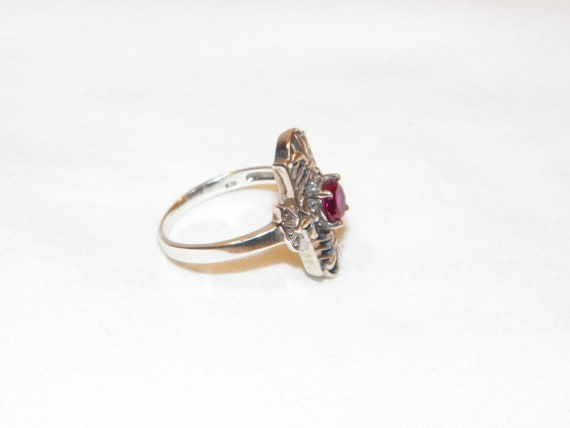 Size 8 Sterling Silver Ruby Ring, Solid 925 Ruby … - image 4