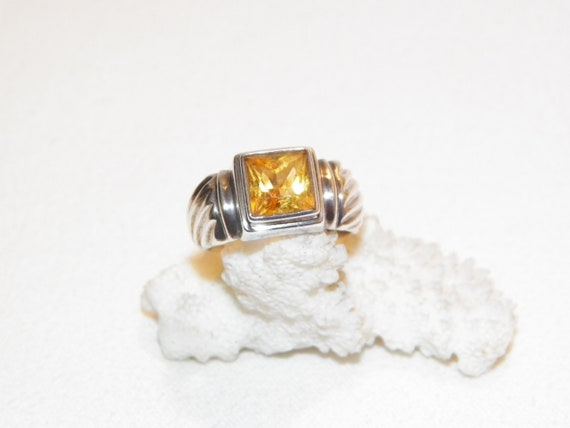 Size 9 Sterling Silver Citrine Ring, Solid 5.5 Gra