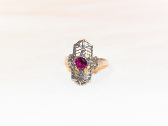 Size 8 Sterling Silver Ruby Ring, Solid 925 Ruby … - image 3