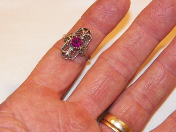 Size 8 Sterling Silver Ruby Ring, Solid 925 Ruby … - image 7