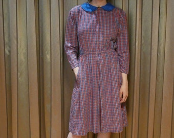 Vintage 1970s gingham check peter-pan collar long-sleeved tea dress Small