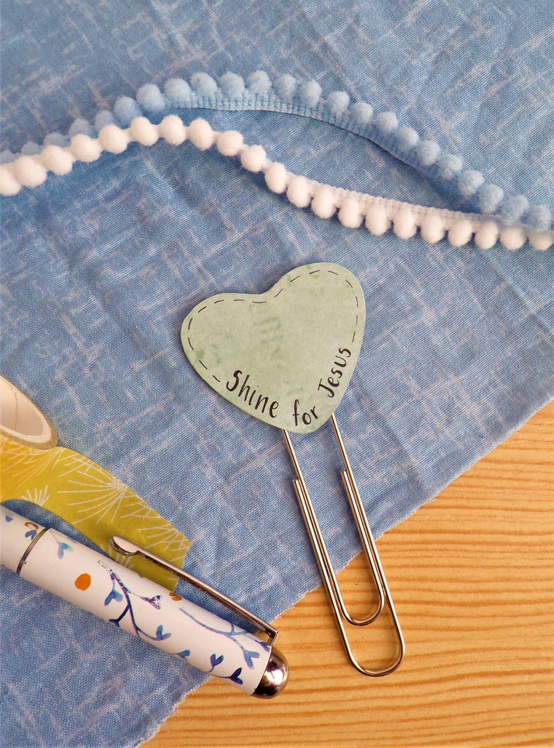 Heart Paperclip Bookmark  Shine for Jesus image 0