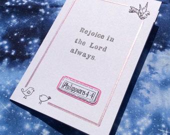 Embossed Scripture Card Philippians 4:4