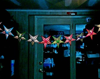 Paper Star Lantern String Lights; Party Lights; Party Decor; Colorful Accent Lighting; Dorm Room; Fairy Lights; Girls Bedroom Decor; Teen