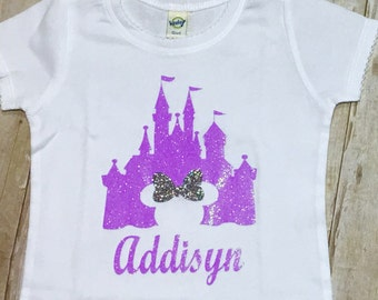 Disney Castle/Cinderella Castle/Glitter Castle Shirt/Girls Disney Shirts/Personalized Disney Shirts