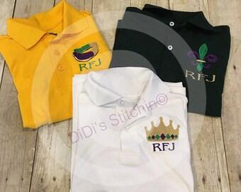 0a311d54 Boys Mardi Gras Polo Shirt/Embroidered Personalized Mardi Gras Shirt/