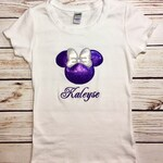 Minnie Mouse Appliqued Shirt/Girls Minnie Shirt/Disney Shirt/Monogrammed Disney Shirt/Disney Mouse Shirt