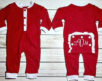 Monogrammed baby girl Monogrammed girls Christmas sleeper Velour Christmas sleeper