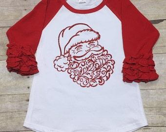 Christmas Shirt/Reglan Ruffle Christmas Shirts/Santa Shirt