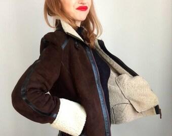 ad02c58979 Sheepskin aviator jacket. shearling pilot jacket. Brown winter jacket.  pilot jacket with oversize cuffs. Karen Millen jacket. Size 12.