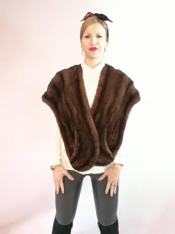 Vintage fur stole. Real Mink Fur Stole. chocolate