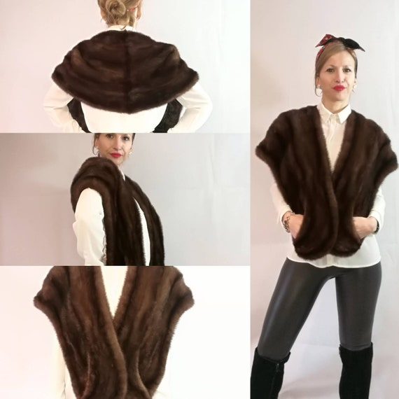Brown fur stole. Real Mink Fur Stole. chocolate br