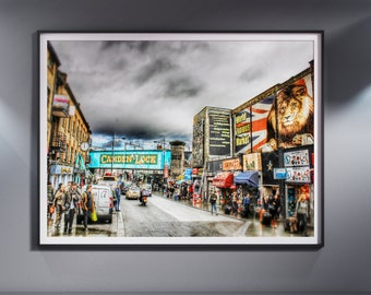 Camden Town, Market. London. Uk. Fine Art. Download high quality Photo. Poster A3 + size.