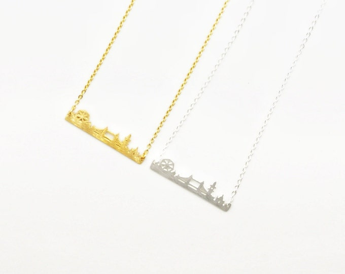 Sterling Silver London Skyline Necklace Gold Travel Bar Gift For Friend