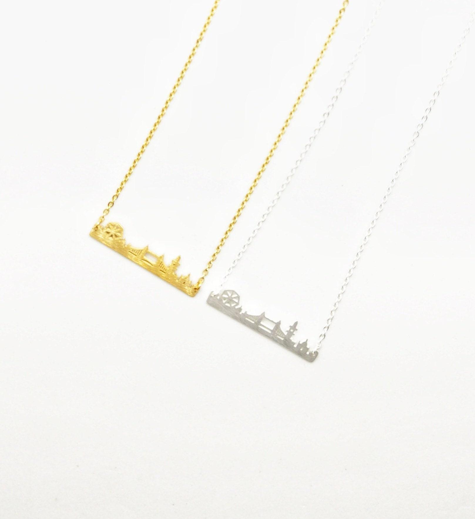Sterling Silver London Skyline Necklace Gold Travel Bar