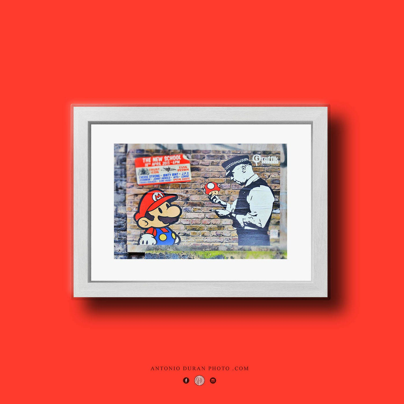 Mario and Police street Art A3 Size