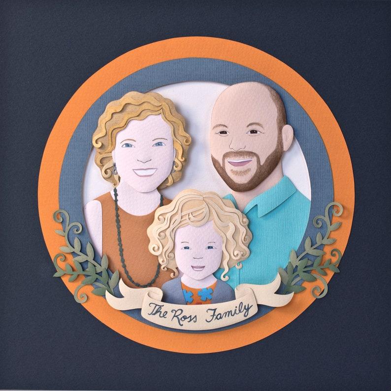Paper art. Paper cut custom portrait. Personalised family image 0