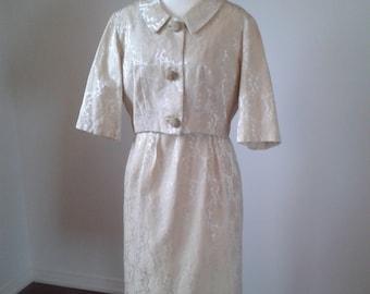 VINTAGE 2pce Suit Dress, 1950's Brocade Creme,Large Buttons