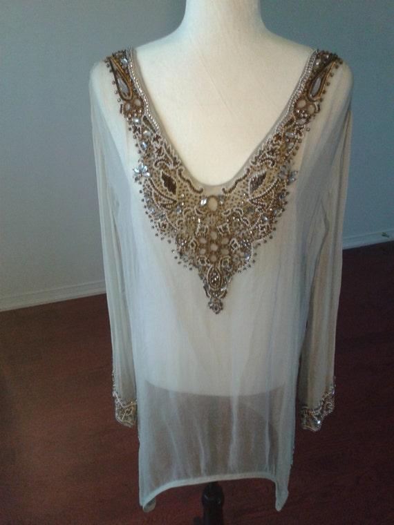 BEADED Silk Sheer Tunic Blouse Coverup.
