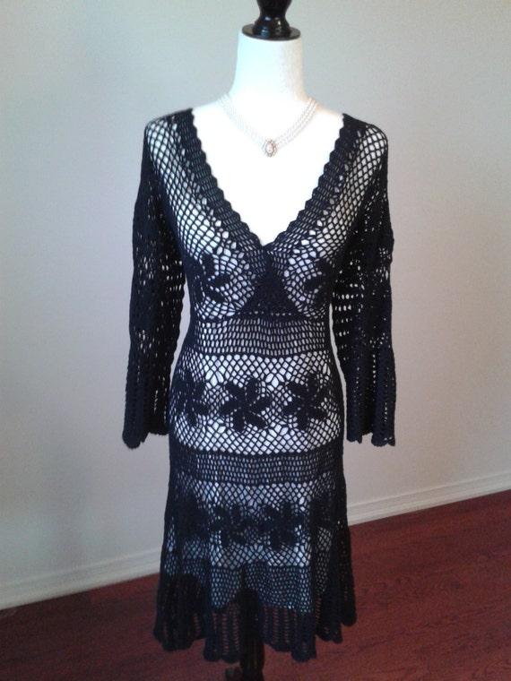 CROCHETED DRESS Vinatge Black Cotton Sheer