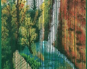 Waterfalls nature scene bamboo beaded curtain