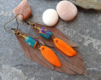 Handmade Earrings / Leather Earrings / Feather Earrings /Polymer Clay Earrings /Native American Inspired Earrings / Gift for Her