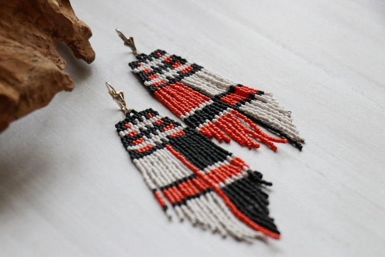 Gift for Her Black Orange White Earrings Seed Bead Earrings Bohemian Earrings Beaded Fringe Earrings
