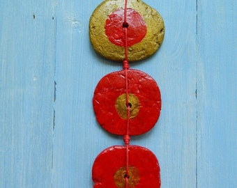 Handmade paper mache necklace, flat round pendant necklace, recycled paper red and gold, knotted circle necklace, modern tribal necklace